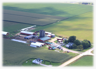 Aerial photo of the Crooked Creek Farm